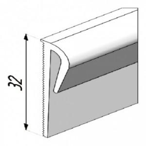 Верхняя кромка составного плинтуса для завода на стену из ПВХ разных цветов